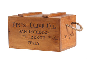 Rustic Vintage Wooden Lidded Chest Box - Olive Oil