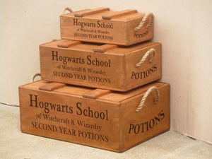 Set of 3 Wooden Lidded Chest Boxes with Rope Handles - Hogwarts School
