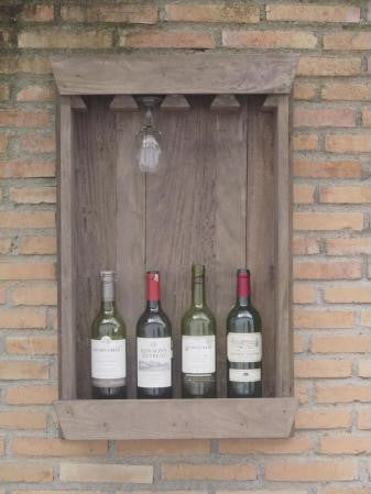 Display Bottle Rack Holds 4 Bottles & 4 Glasses