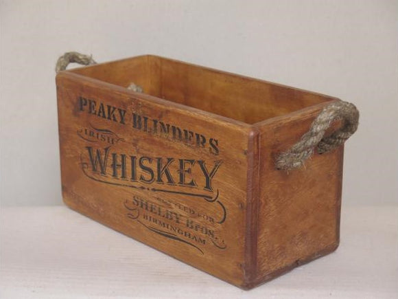 Peaky Blinders Whiskey Crate with Rope Handle for 2 Bottles