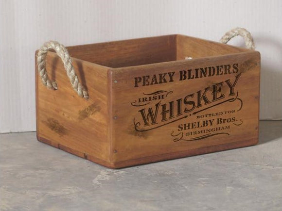 Peaky Blinders Whiskey Crate with Rope Handle for 4 Bottles