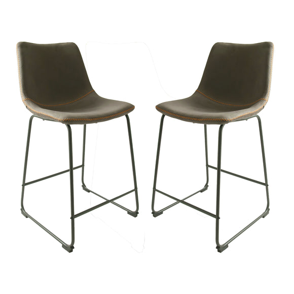 Set of 2 Stockholm Counter Seats in Mussel Moleskin