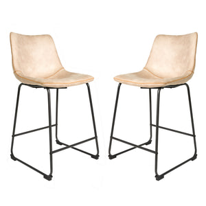 Set of 2 Stockholm Counter Seats in Oyster Moleskin