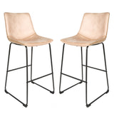Set of 2 Stockholm Bar Stools in Oyster Moleskin