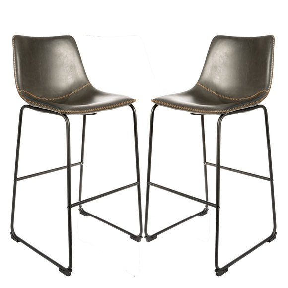 Set of 2 Stockholm Bar Stools in Grey