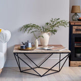 Cosgrove Large Square Coffee Table with Geometric Frame