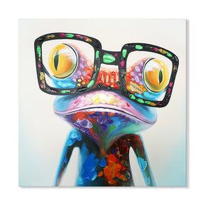 Hand Painted Neon Frog Canvas
