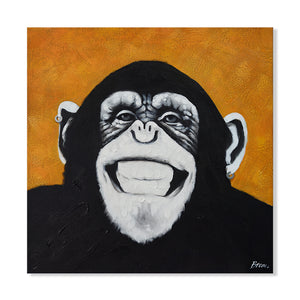 Hand Painted Grinning Chimp Canvas