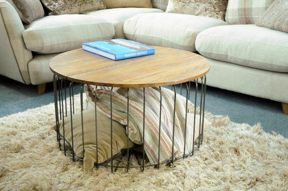 The Loft Cage Round Coffee Table with Hinge Top