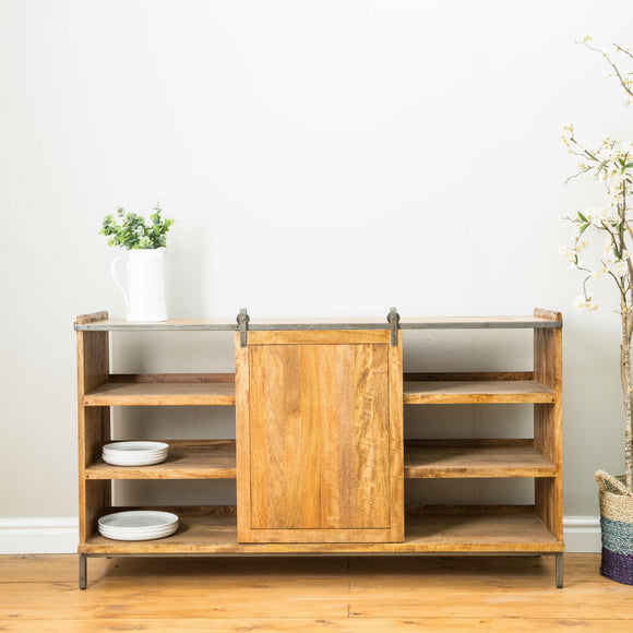 The Loft Sideboard with Shelves and Sliding Door