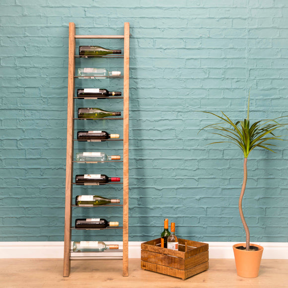 The Loft Leaning Ladder 9 Bottle Wine Rack