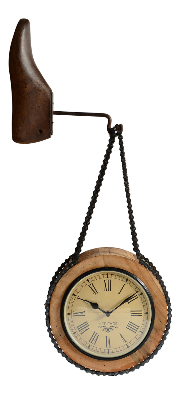 Upcycled Wooden Dual Side Clock with Shoe Hanger