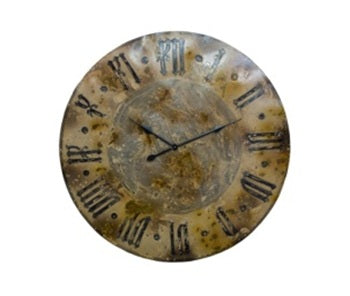 Large Distressed Iron Wall Clock