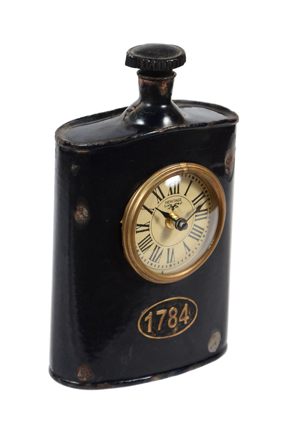 Old Iron Army Hip Flask Clock