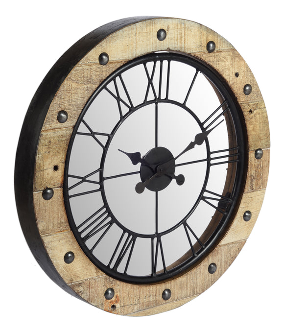 Teak Wooden Clock with Mirror