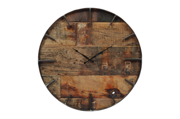 Old Teak Wooden Clock with Iron Frame