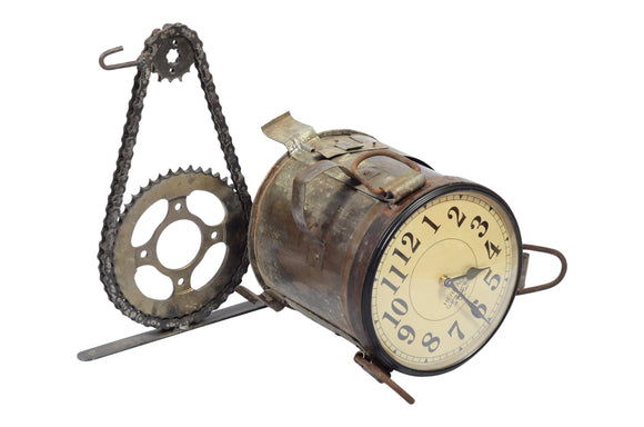 Iron Industrial Clock with Stand