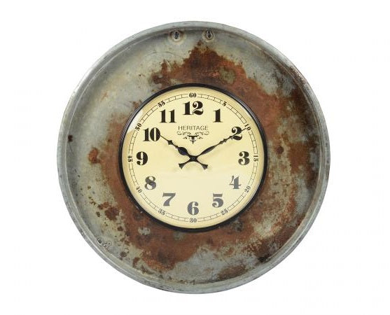 Old Iron Tray Clock - Round