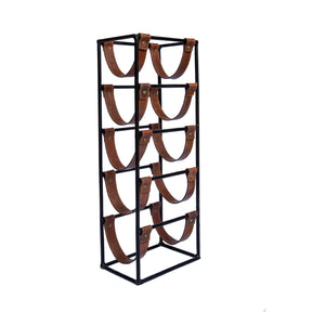 Palmerston Tall Leather Sling Wine Rack - 5 Bottle