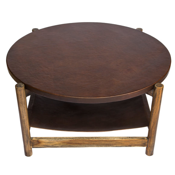 Palmerston Leather Sling Coffee Table - Wood Top