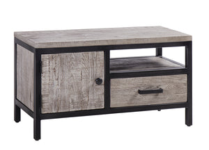Forged Iron and Weathered Oak Small TV Unit