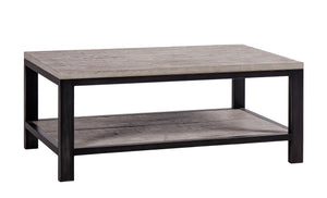 Forged Iron and Weathered Oak Coffee Table
