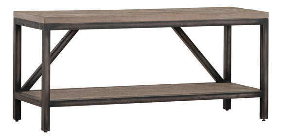 Forged Iron and Weathered Oak Hall Bench