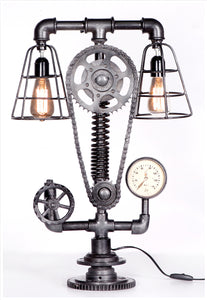 Cogged Table Lamp with Twin Fitting