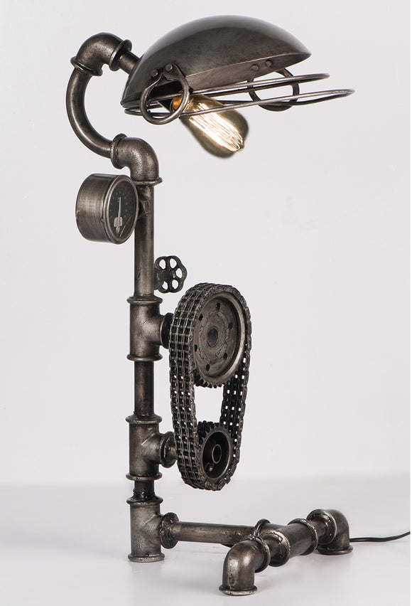 Upcycled Cooking Pot & Cogs Table Lamp