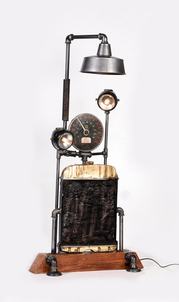 Wooden Base with Gauge Floor Lamp