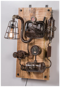 Vintage Industrial Wall Lamp on Timber