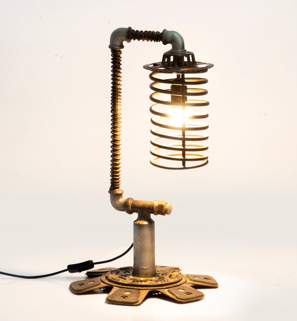 Industrial Iron Table Lamp with Coil Shade
