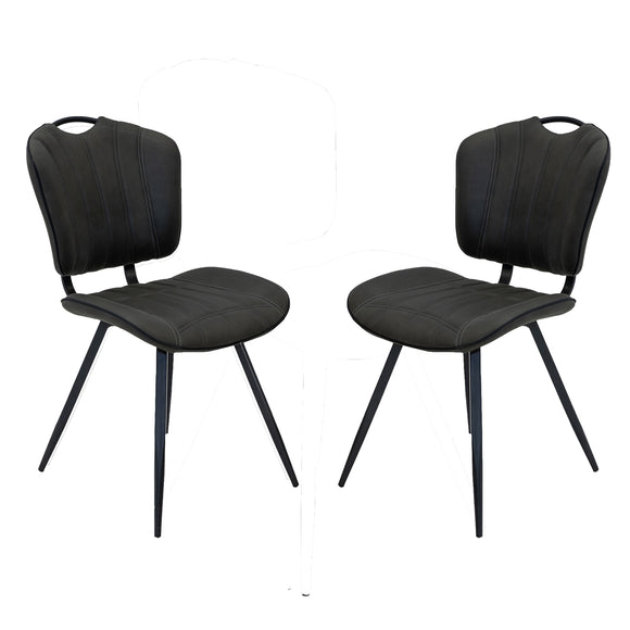 Set of 2 Madrid Dining Chairs in Mussel Moleskin