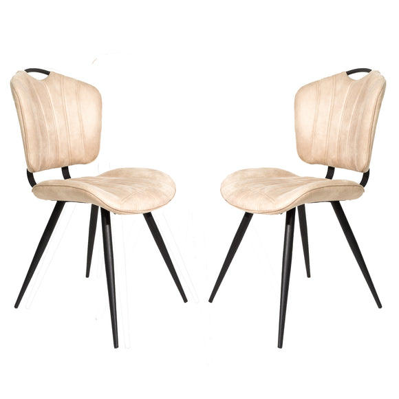 Set of 2 Madrid Dining Chairs in Oyster Moleskin