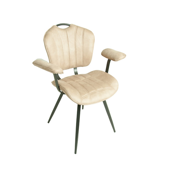 Set of 2 Madrid Carver Chairs in Oyster Moleskin