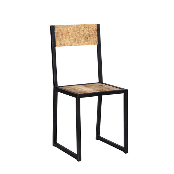 Pair of Cosmo Industrial Metal and Wood Dining Chairs - Kate Newington Interiors