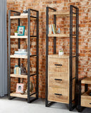 Cosmo Industrial Slim Bookcase with Drawers