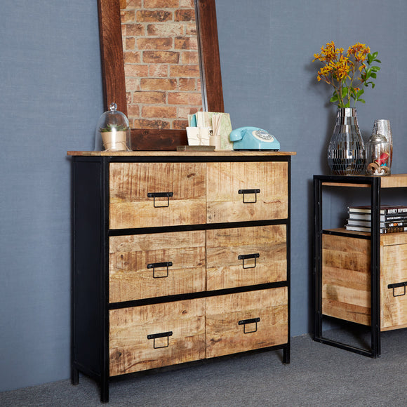 Cosmo Industrial 6 Drawer Chest - Kate Newington Interiors