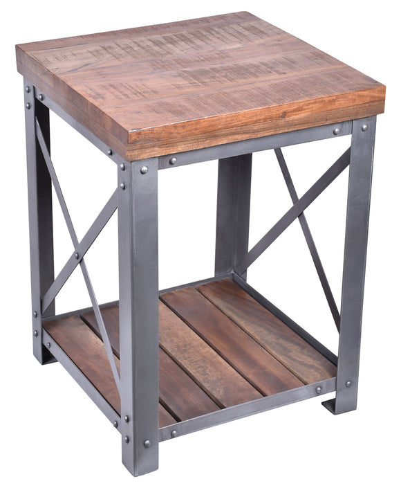 Industrial Iron and Wood Cross-Detail Side Table