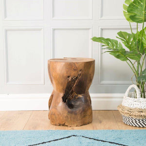 Earth Round Bobbin Side Table in Natural Wax