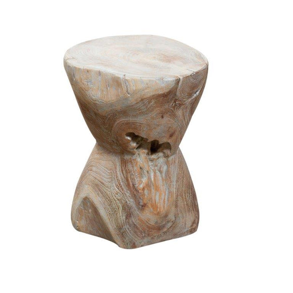 Earth Round Bobbin Side Table in Natural Grey
