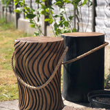 Earth Natural Teak Root Round Black Stool with Rope