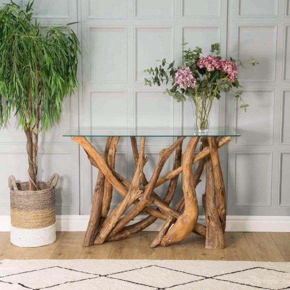 Earth Teak Branchwood Console Table with Glass Top