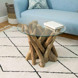 Earth Teak Branchwood Round Coffee Table with Glass Top
