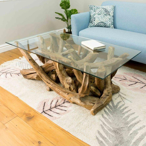 Earth Teak Branchwood Rectangular Coffee Table with Glass Top