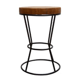 Earth Natural Teak Root Round Wire Side Table