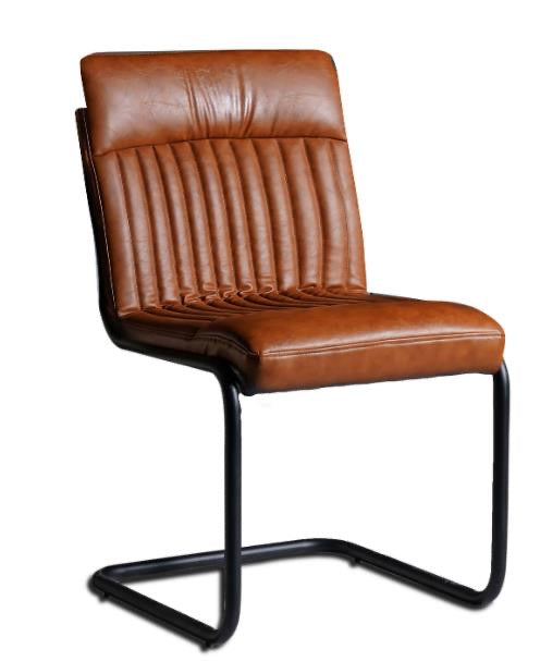 Brown Leather Dining Chairs (Pair)
