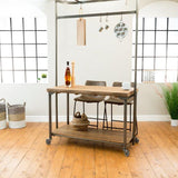 Komi Live Edge Kitchen Island with Pot Rack