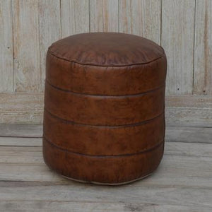 Round Leather Pouffe Stool