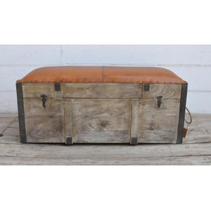 Brushed Buffalo Leather Storage Trunk Bench